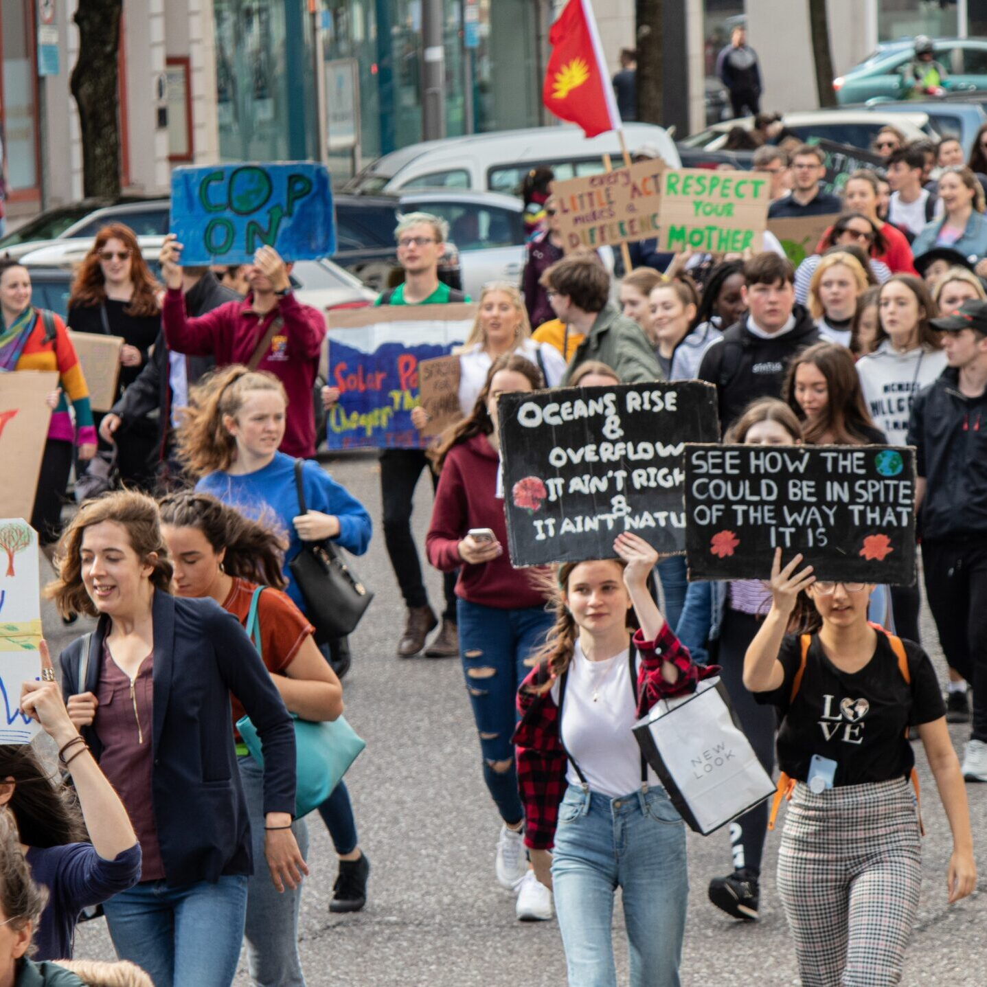 group of protestors against climate change